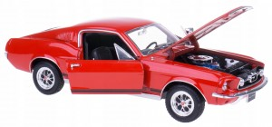 1967 FORD MUSTANG GT MODEL WELLY 1:24 CZERWONY