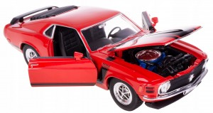 1970 MUSTANG BOSS 302 MODEL METAL WELLY 1:24 CZERW